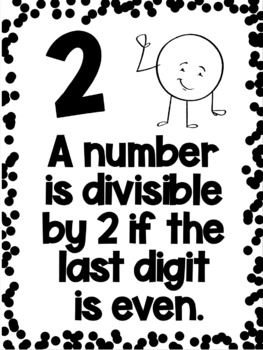 Divisibility Rules Posters in Black & White Easy Printing