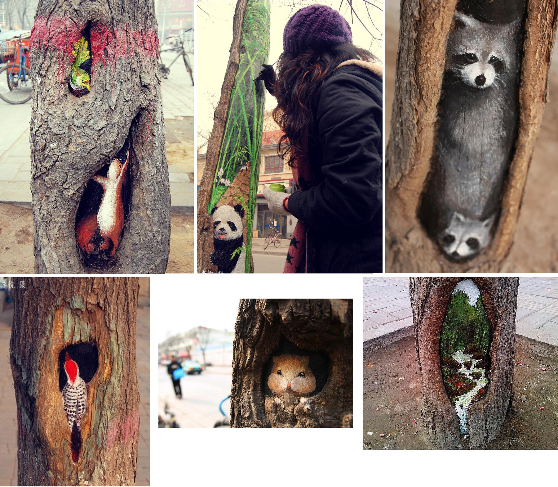 A chinesa Wang Yue é uma jovem artista de 23 anos que pinta as árvores de sua cidade,Shijiazhuang, numa tentativa de embelezar  as ruas com cores e imagens da natureza, os quais são seus recorrentes temas.