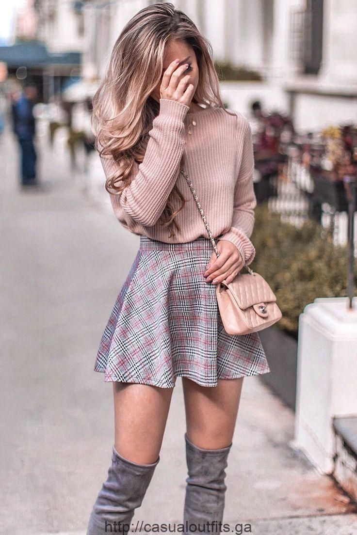 Pastel pink knitted sweater, skater skirt and over the knee boots for autumn – summer fashion ideas