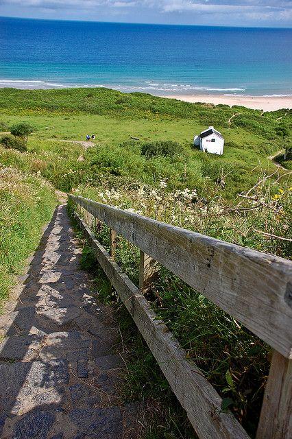 Path down to Whitepark Bay, Co Antrim, Northern Ireland.