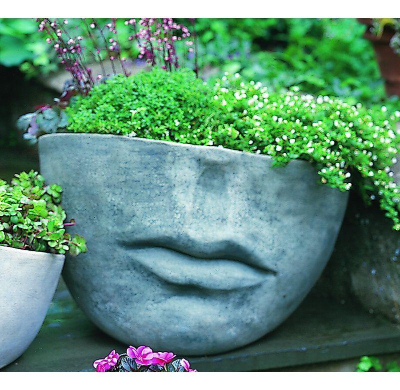 Faccia Cast Stone Pot Planter In 2020 Stone Planters Face Planters Unique Gardens