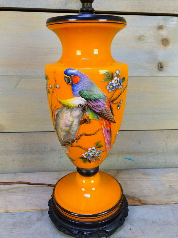 Vintage Czech Hand Painted Orange Glass Parrot Lamp By