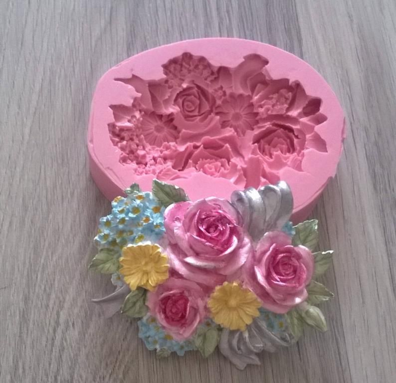 ROSE silicone mould flower mold sugarcraft resin polymer clay fimo plaster mould