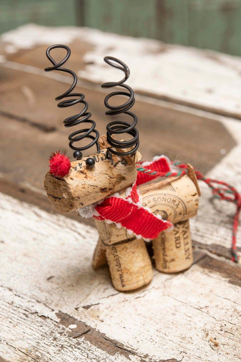 Wine Cork Reindeer Ornament Etsy In 2021 Wine Cork Ornaments Wine Cork Diy Crafts Cork Crafts Christmas