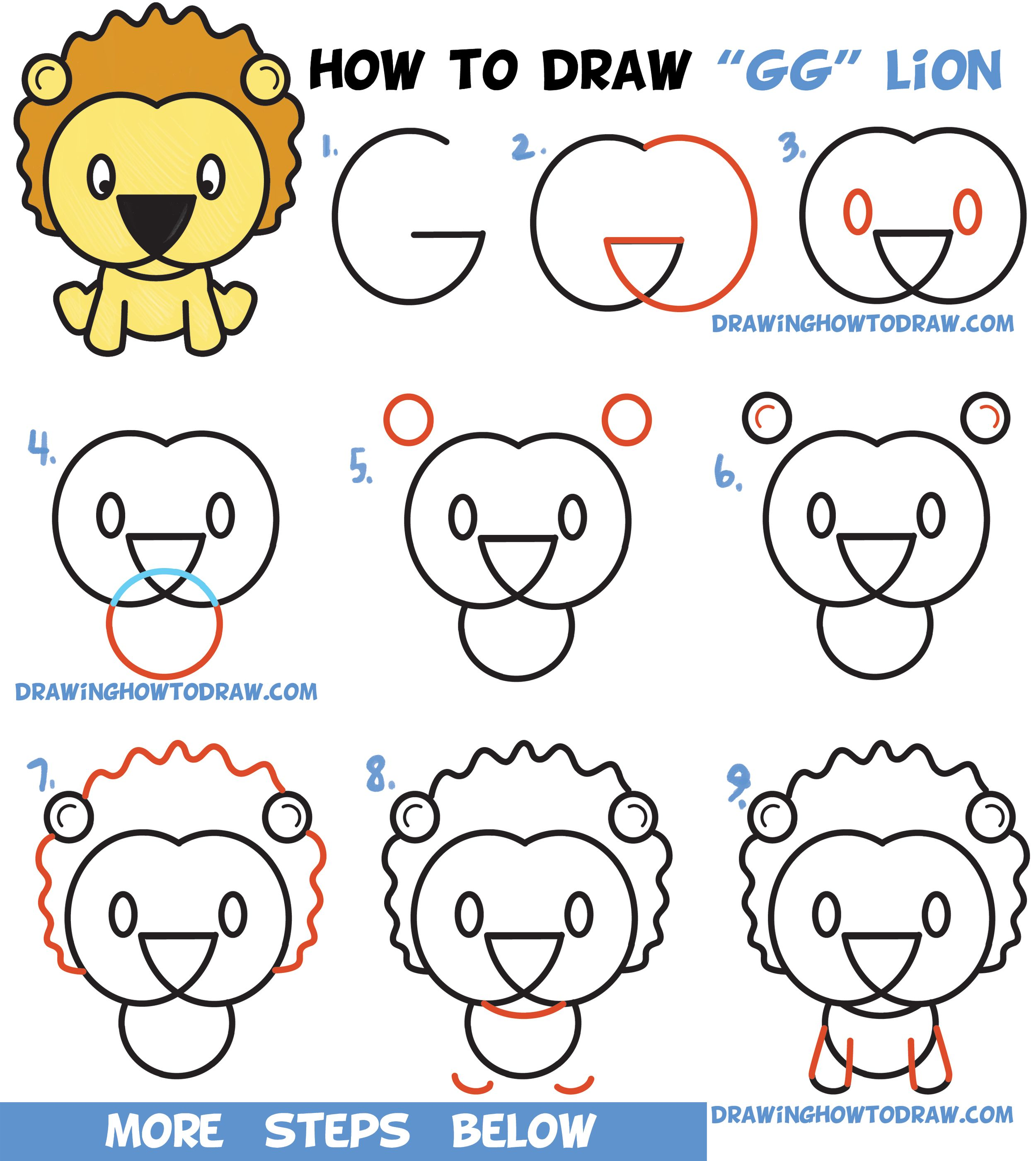 Learn how to draw a cute cartoon lion from letters g g easy step by step drawing tutorial for kids
