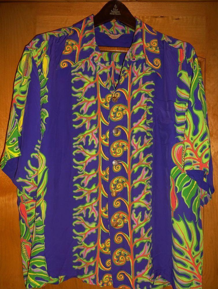 48e6070cd Vintage 1940s - 50s Kamehameha Rayon Floral Hawaiian Shirt Aloha Shirt XL