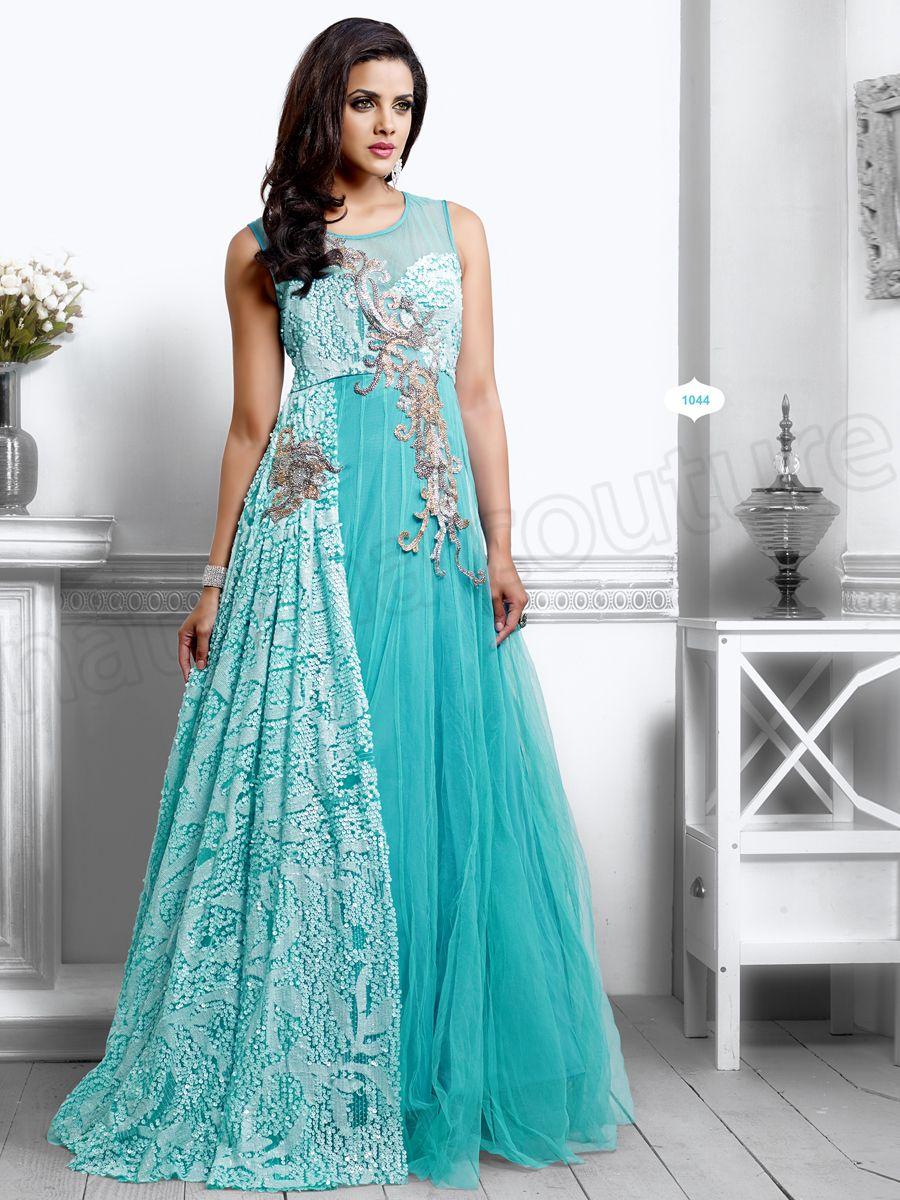 Designer Gowns#Blue#Indian Wear#Desi Fashion #Natasha Couture ...