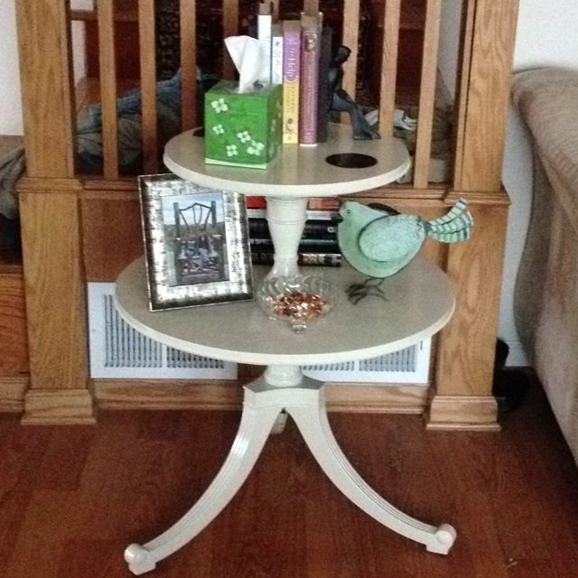 Two Tier Round Table I Found It At A Second Hand Store And Repainted It I Love It Painted Furniture Table Living Room Table
