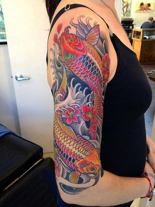 Woman Arm Koi Fish Tattoos Koi Balığı D 246 Vmeleri Koi border=