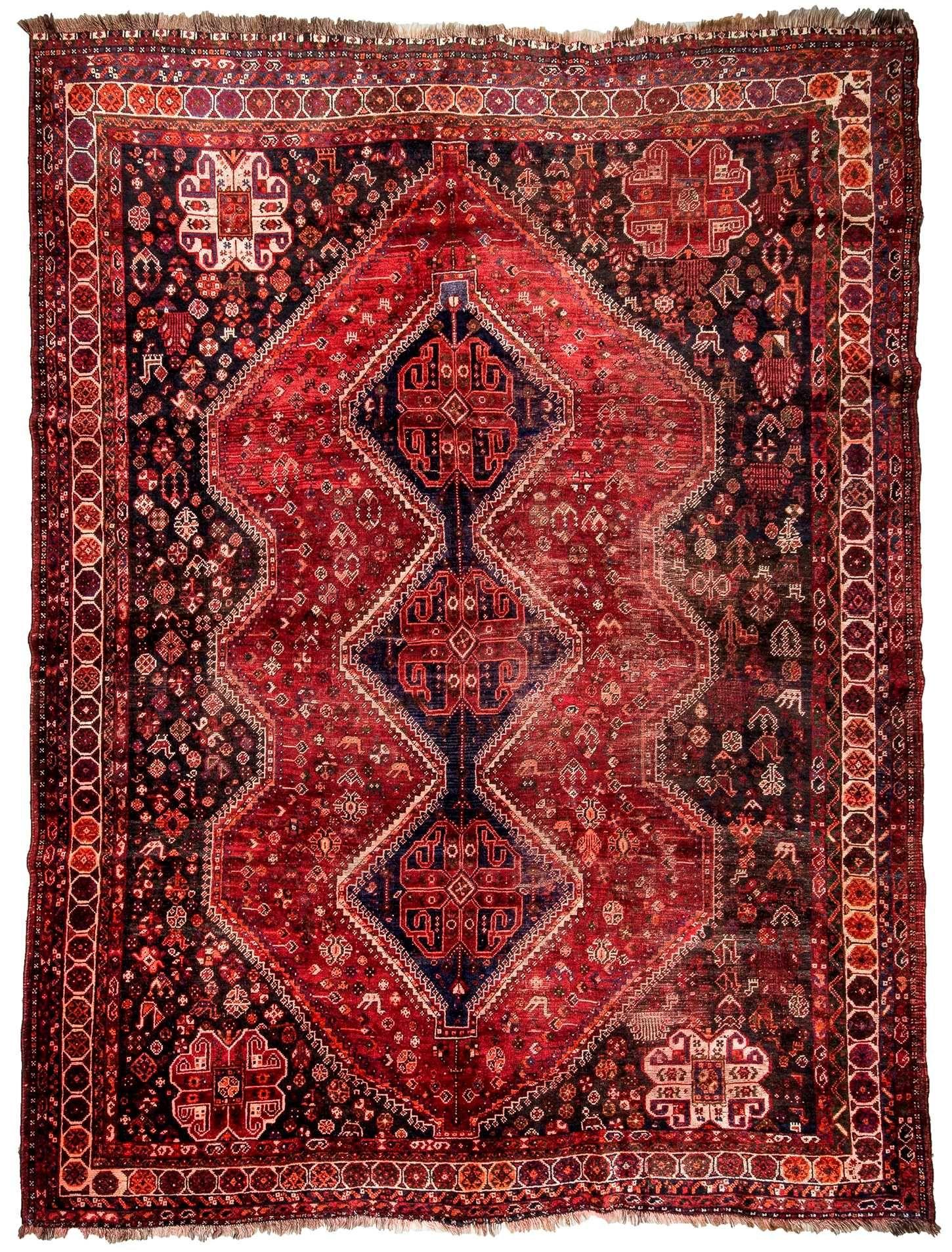 Vintage Tribal Oriental Shiraz Rug Shiraz Rugs Rugs Simple Carpets