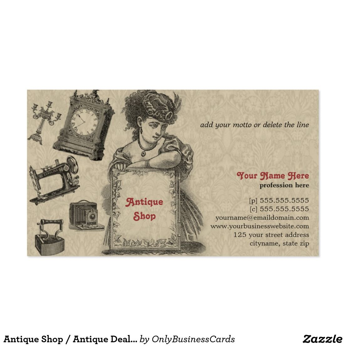 Antique Shop / Antique Dealer / Vintage Art Business Card | Antique ...