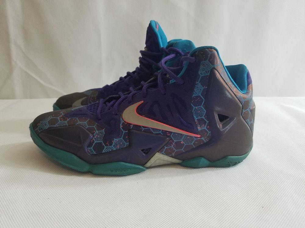 premium selection 86151 7f98a Nike LeBron XI 11 Summit Lake Hornets Court Purple Silver 621712-500 Sz 6Y   Nike  BasketballShoes
