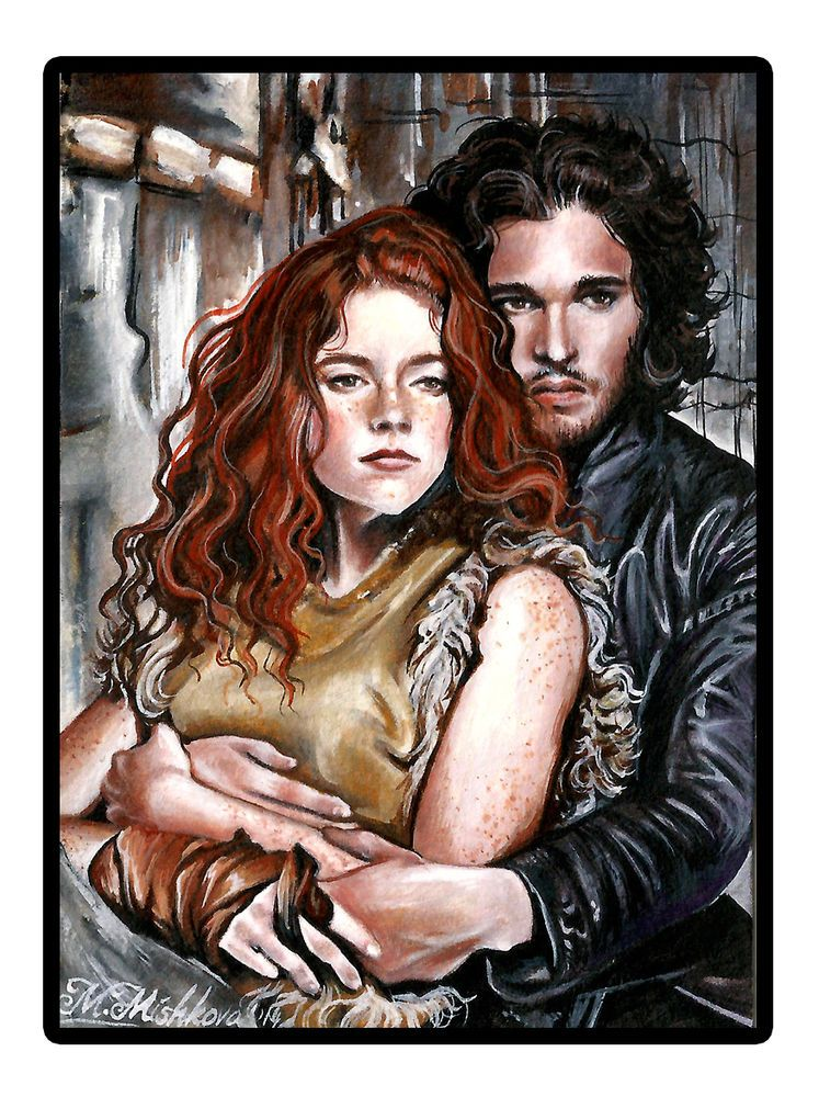 Original ACEO Ygritte Rose Leslie Jon Snow Kit Harington GameThrones  Mishkova