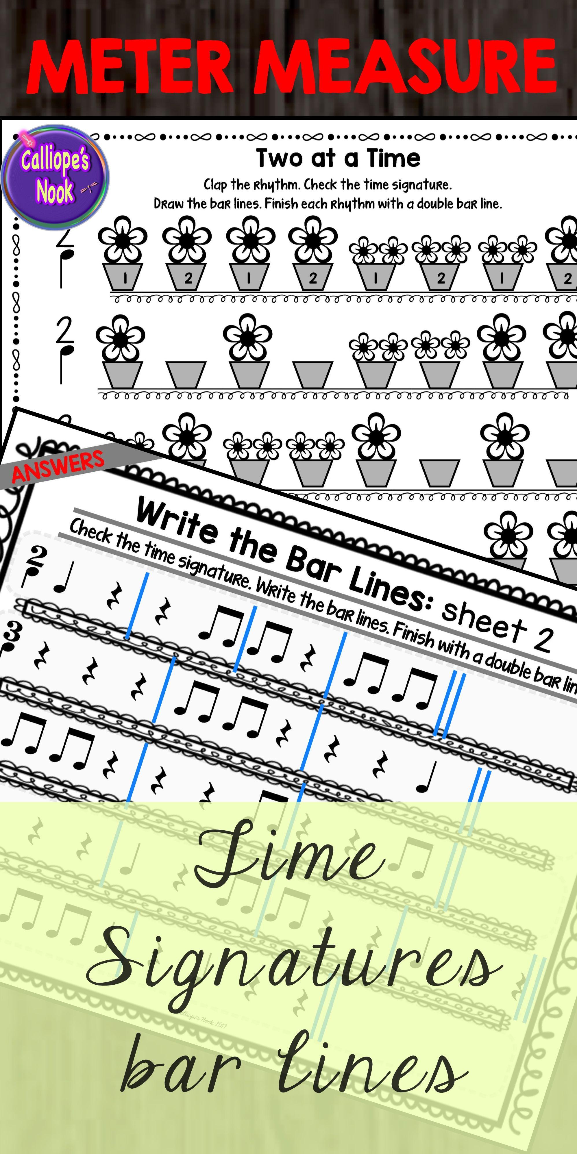 Meter Amp Measure Worksheets Bar Lines Time Signatures