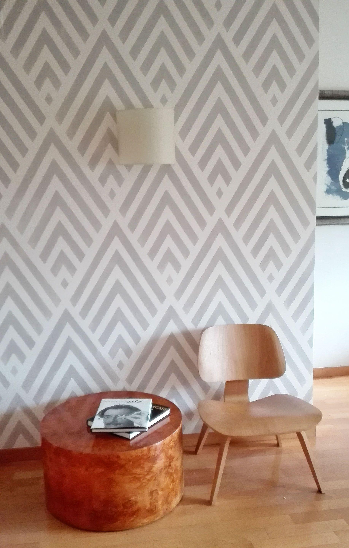 Mural Geom Ttrico Pintado Por Stencilbarcelona Inspirado En  ~ Pintura Decorativa Paredes Interiores