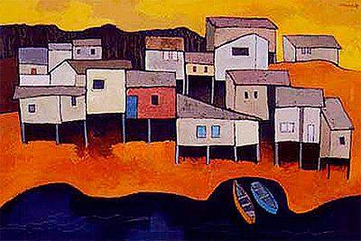 Oswaldo Guayasamin, Canoas y casas en el suburbio, 1989