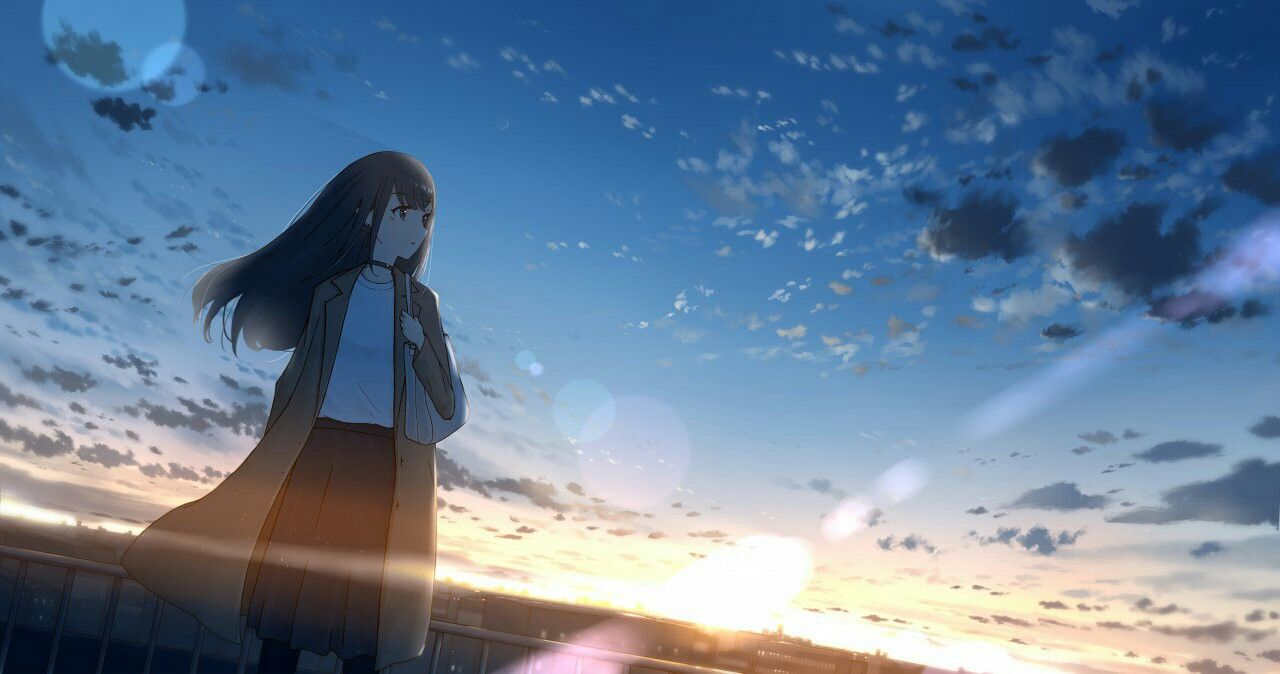 Girls ⊙ sky ⊙ wallpapers animegirl animekawaii kawaii sky wallpapers