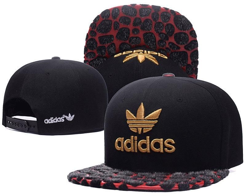 cb3641bffb5 italy mens adidas originals gold clover logo embroidery faux animal leather  visor snapback hat black red