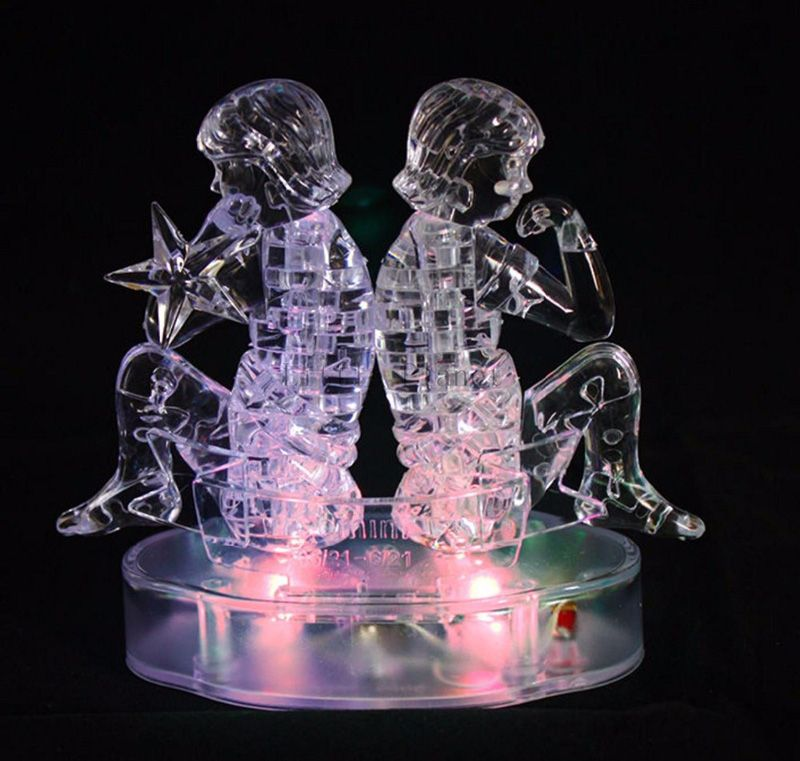 Led Light Up Gemini 3d Crystal Puzzle 48 Pieces 7 Colors Changing 3d Crystal Puzzle Lights Crystals