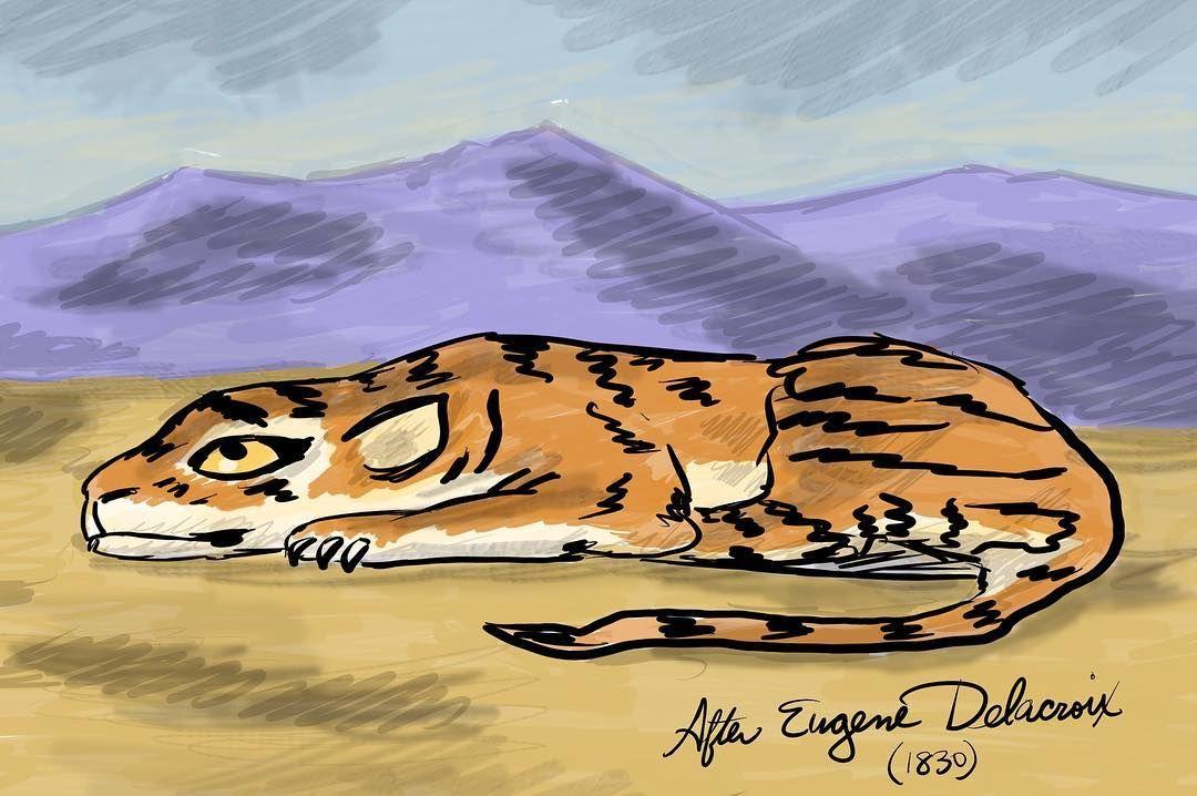 Tiger after #eugenedelacroix #drawing #tiger #illustration #instagram #instaart #instagood #artstagram #digitalart #doodle #bigcat