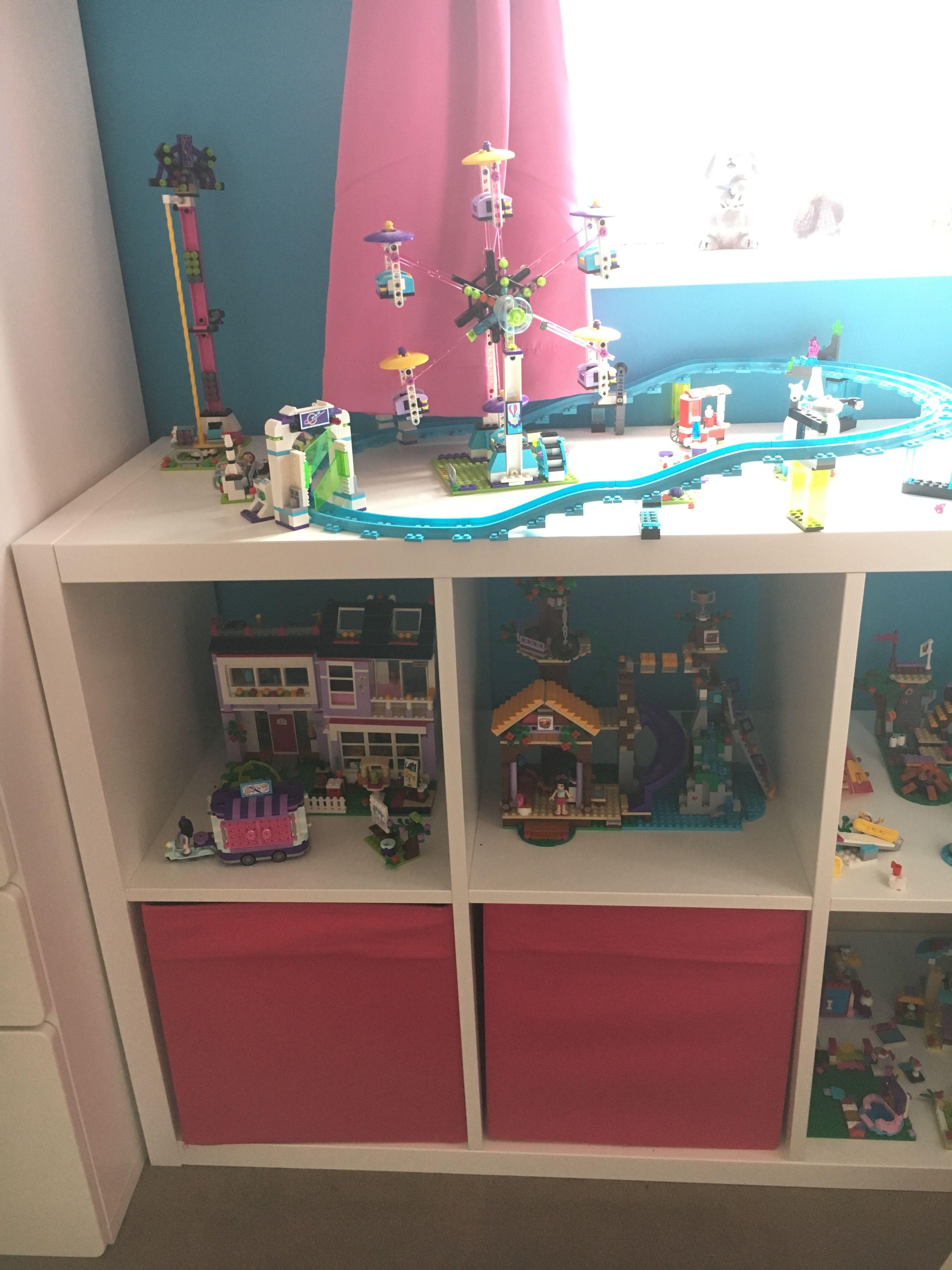 Ikea kallax shelving unit used to store Lego friends. The