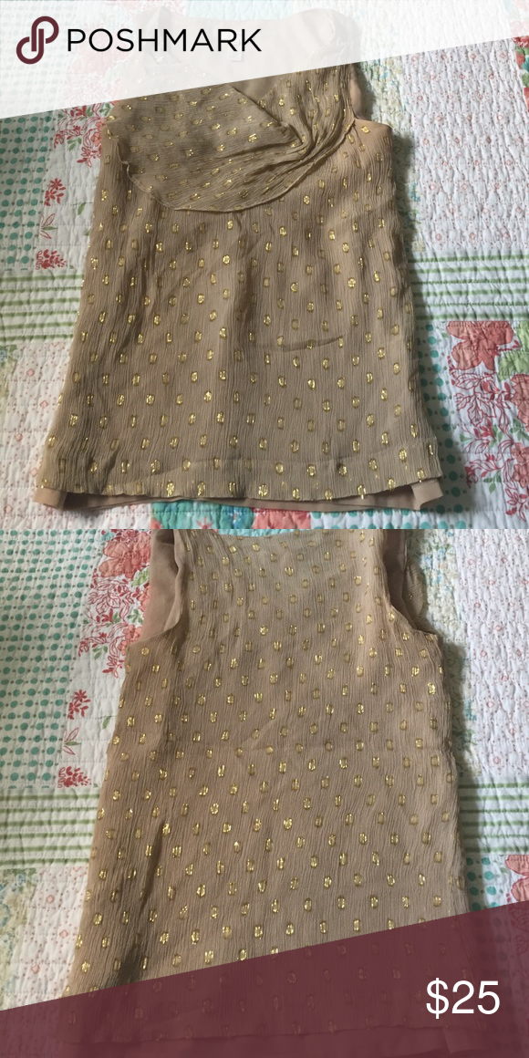 J Crew silk blouse Silk blouse with metallic gold dots. Lined on inside. Dry clean only J. Crew Tops