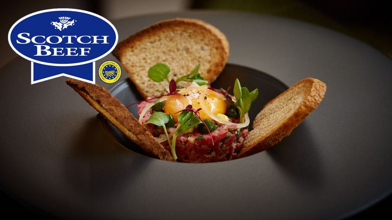 How to cook one square scotch beef steak tartare with confit egg one square scotch beef steak tartare with confit egg yolk toasted sourdough and parsley gel forumfinder Gallery