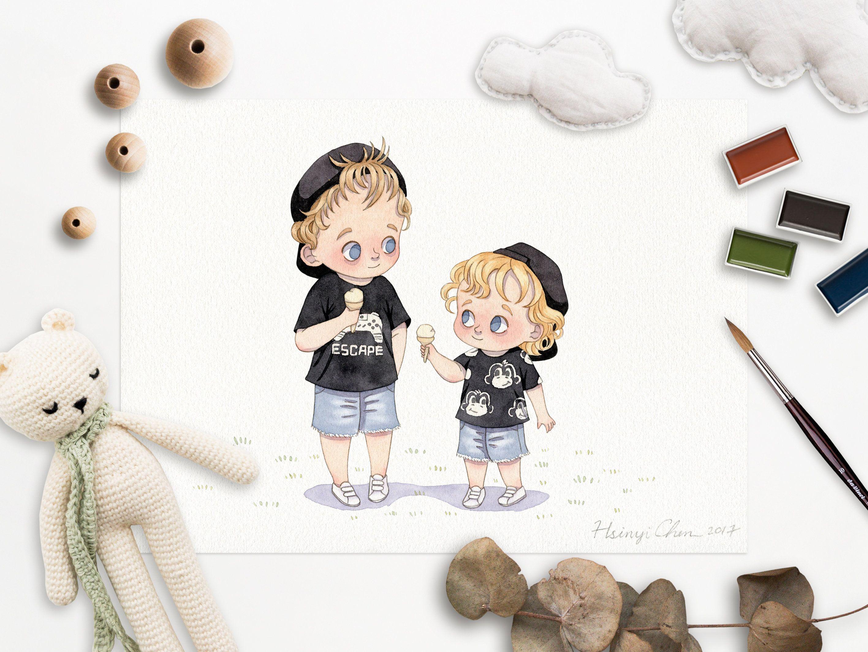 Custom siblings portrait handpainted watercolor