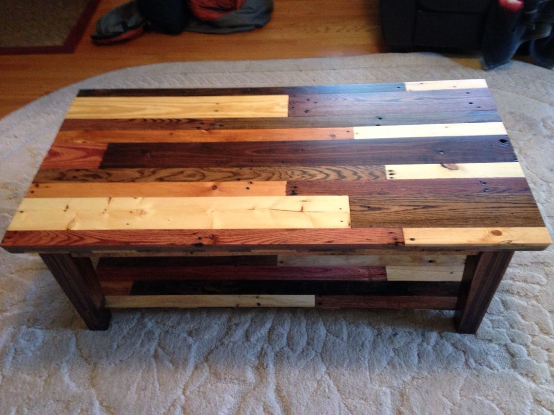 Coffee Table Made From Pallet Wood Top View Showing Different Wood Types And Stains Pallet