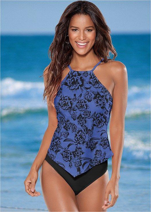 009e2fcc087d15 Hanky hem high neck tankini   tankini   Swimwear, Tankini swimsuits ...