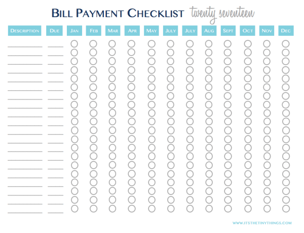 2017 bill payment checklist free printable