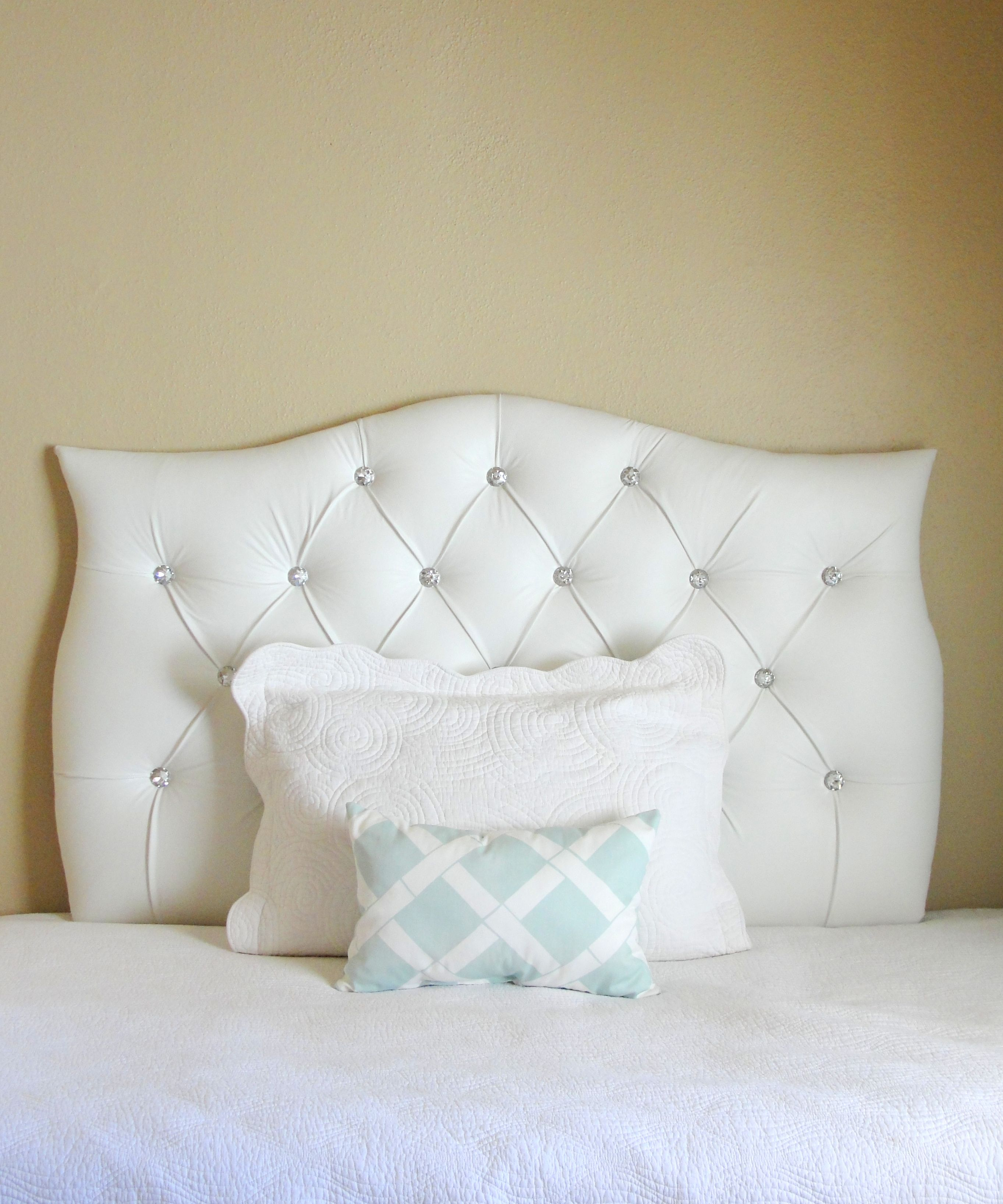 Tufted Upholstered Custom Headboard White Faux Leather With Crystal Ons