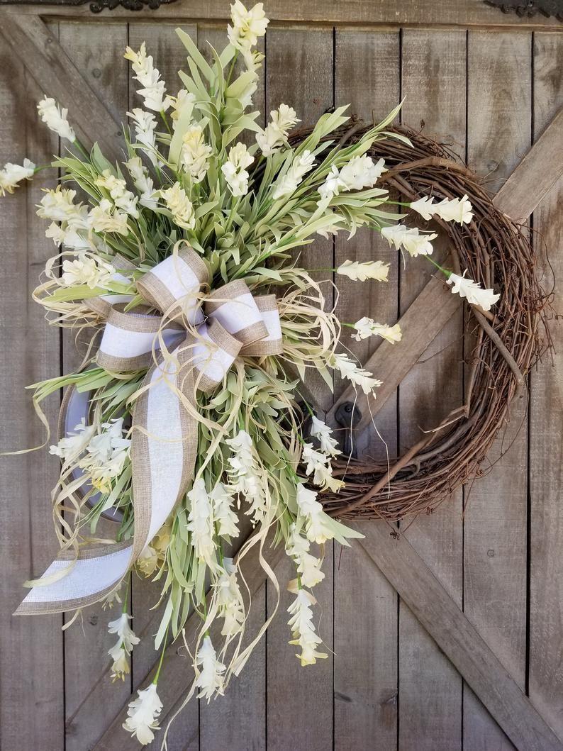 Photo of 30″ Front door wreaths, Summer wreaths, Home Decor wreaths, Wreath Great for All Year Round – Everyday Wreath, Cream floral Wreath