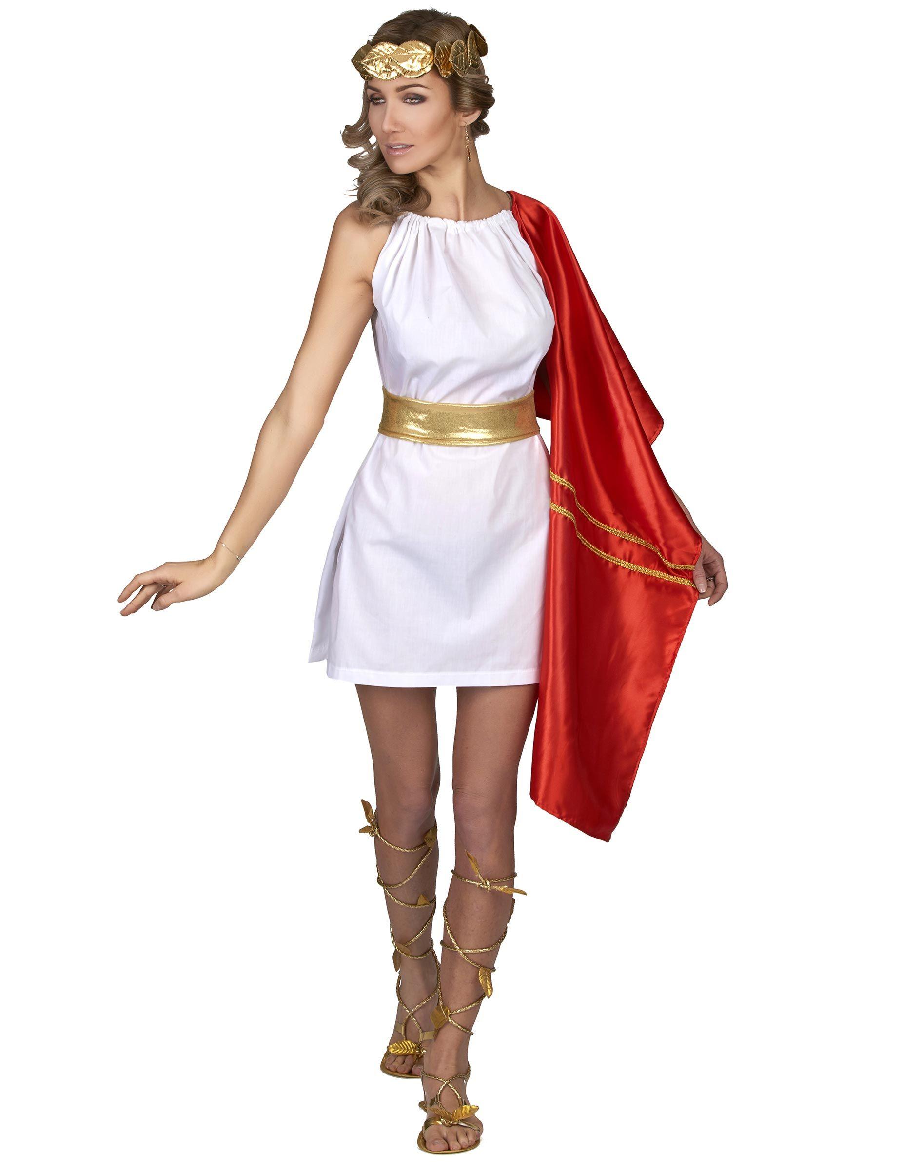 23542e2976d Disfraz romana rojo y dorado mujer: Este disfraz de romana para mujer  incluye vestido,