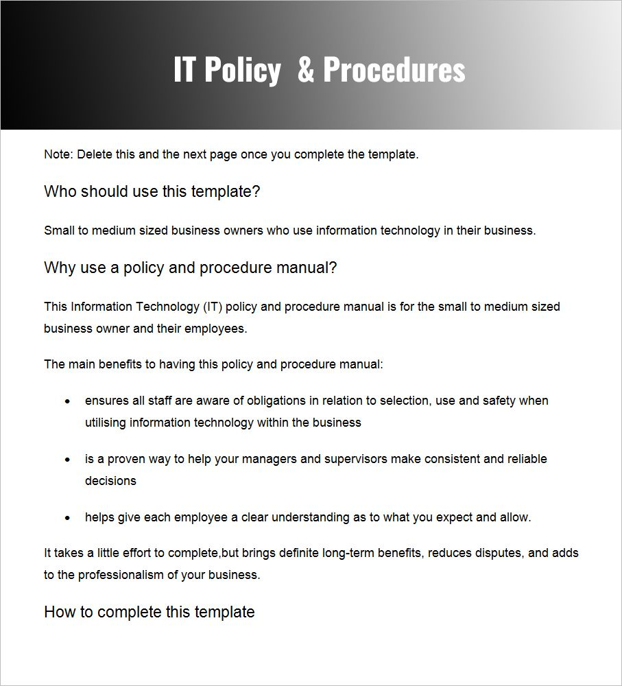 28 Policy And Procedure Templates Free Word Pdf Download Intended For Small Business Policy And Procedures Manual In 2020 Business Template Word Free Best Templates