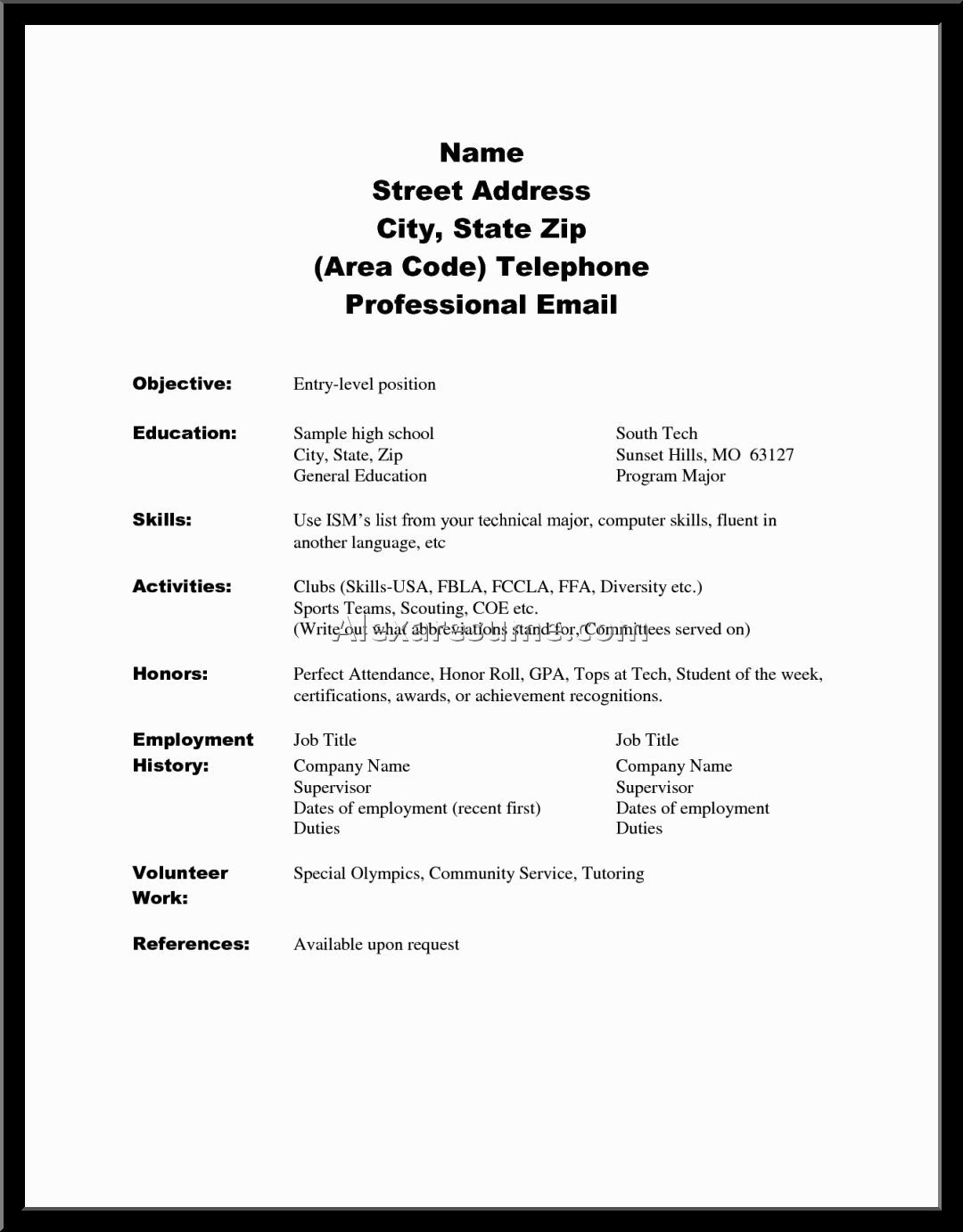 High School Student Resume Template Resume Examples High School Senior Alexa For College Application