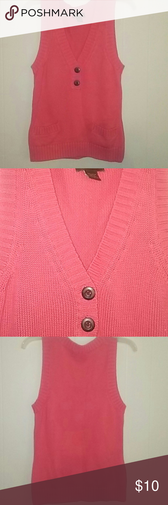 Eddie Bauer small peach sweater vest It is sleeveless,vneck, has two front buttons and two front small pockets. It is a size small in juniors/  women's. It is in great condition and great for spring.  CA# 00665 Eddie Bauer Sweaters V-Necks