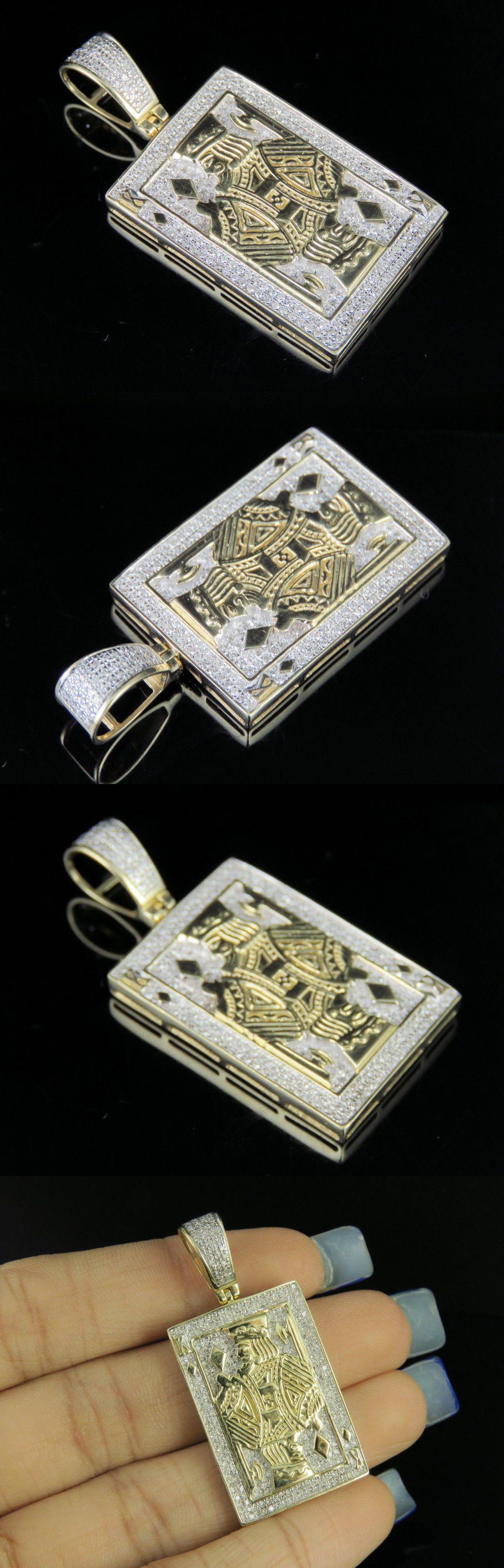 Men/'s 10K Yellow Gold Over D//VVS1 Diamond King Card Poker Pendant Charm 2//3 CT