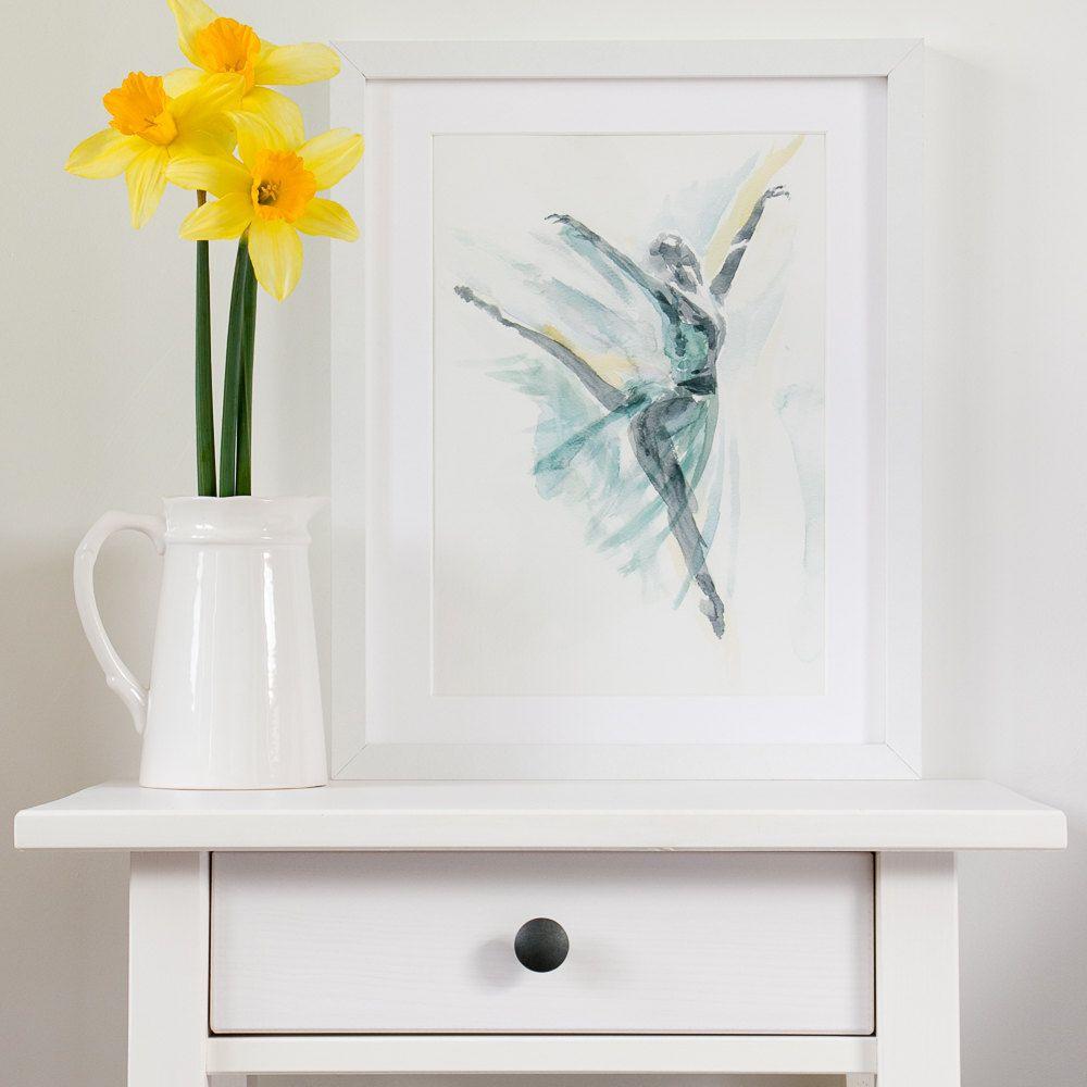 ballet wall art ballerina print best friend gift turquoise