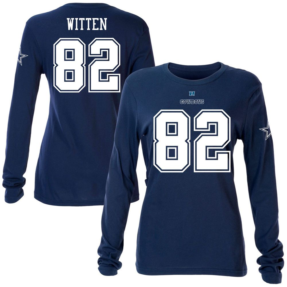 1dce371f436 Women's Dallas Cowboys Jason Witten Navy Blue Name & Number Slim Fit Long  Sleeve T-Shirt