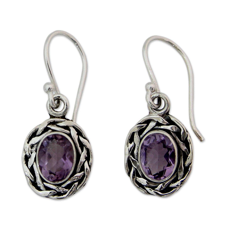 925 Sterling Silver Amethyst Gemstone Heart Stud Earrings Design 7