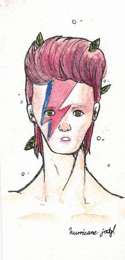 Ilustración en acuarela con tinta sobre guarro inspirada en David Bowie