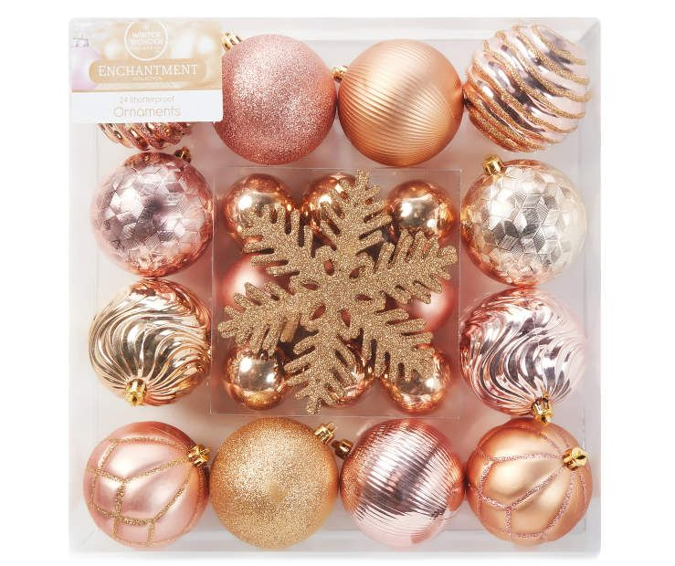 Rose Gold Christmas Ornaments Shatterproof 24 Pack Big Lots Gold Christmas Ornaments Rose Gold Christmas Rose Gold Christmas Tree
