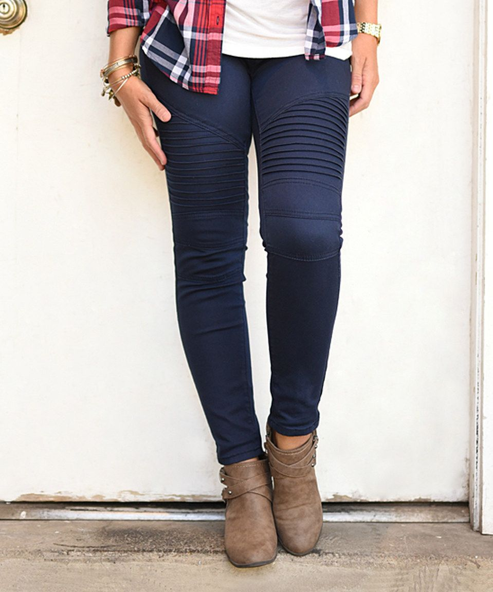 156ecc8833a72 Another great find on  zulily! Navy Moto Jeggings by PeekABootSocks   zulilyfinds
