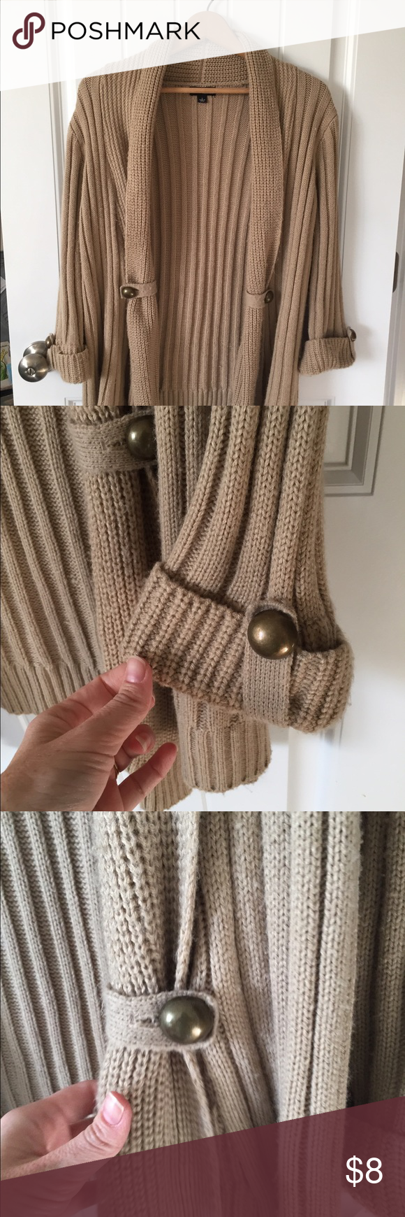 Brown cardigan with copper buttons