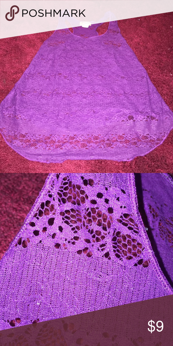 See-thru lace purple tank I would wear a white undergarment because it is see thru but very pretty and has a sparkly tiny to it Mudd Tops Tank Tops