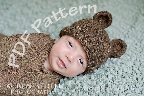 Baby Crochet bear hat pattern, easy crochet pattern, crochet hat ...