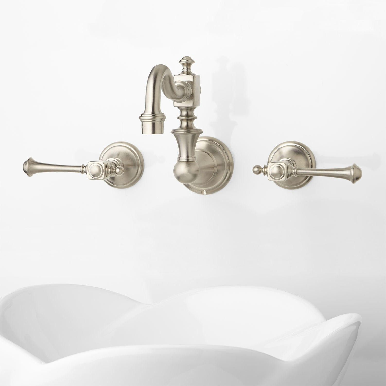 Signature Hardware Modern Vintage+Wall Mount+Bathroom+Faucet+ +Lever+