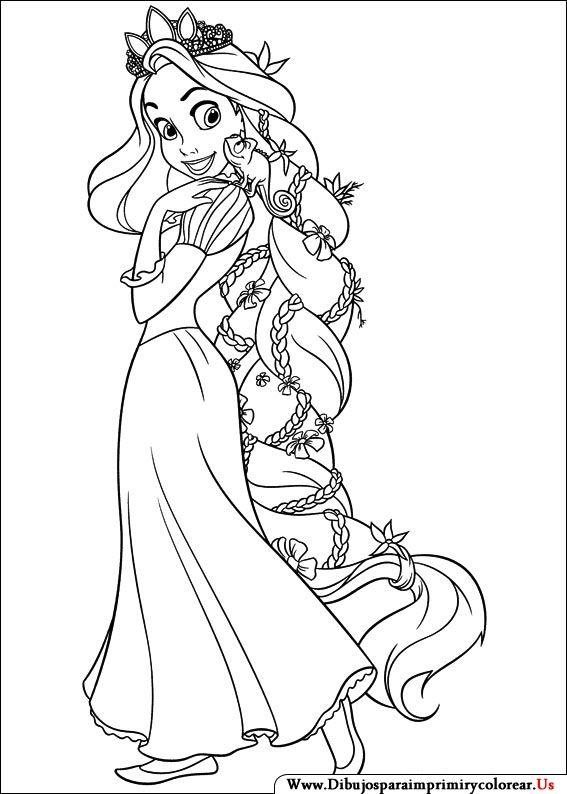 Dibujos De Enredados Para Imprimir Y Colorear Rapunzel Dibujo Colorear Princesas Colorear Disney