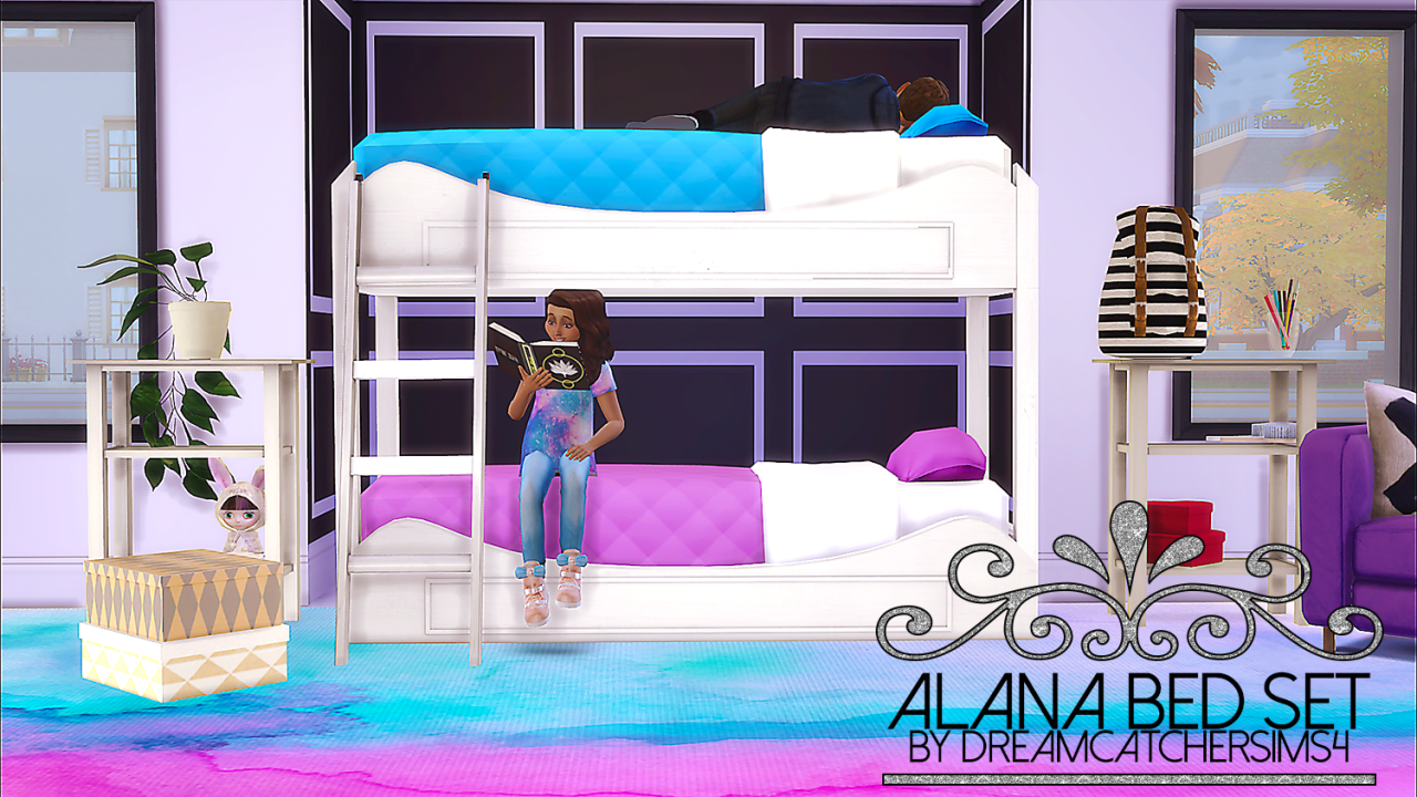 The Sims 4 Dreamcatchersims4 Alana Bed Set Bunk Bed Frame No Footprint Mattress Buy Mode Kids Room Sims 4 Beds Sims 4 Bedroom 4 Bunk Beds
